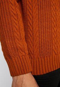 New Look - CABLE PATTERN ROLL NECK - Neule - burnt orange - 5