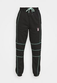 Missguided - PLAYBOY CONTRAST STITCH - Pantalones deportivos - black - 4