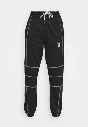 PLAYBOY CONTRAST STITCH - Tracksuit bottoms - black