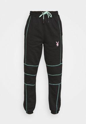 PLAYBOY CONTRAST STITCH - Pantalones deportivos - black