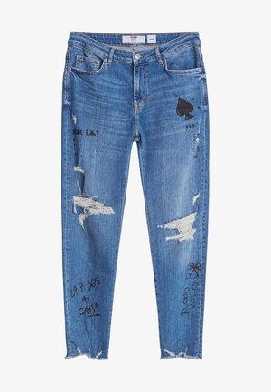 MIT RISSEN - Jeansy Skinny Fit - blue denim