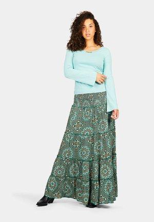 Maxi skirt - turquoise batique circles