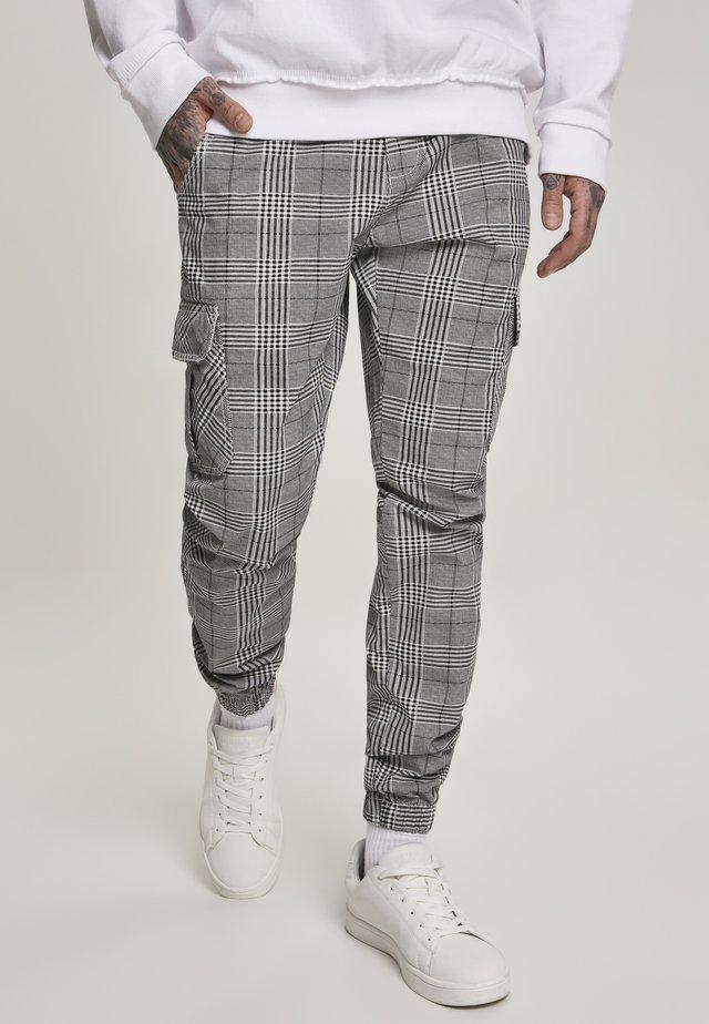 GLENCHECK  - Cargo trousers - white/black