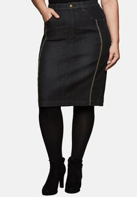 Sheego - Pencil skirt - black denim - 0