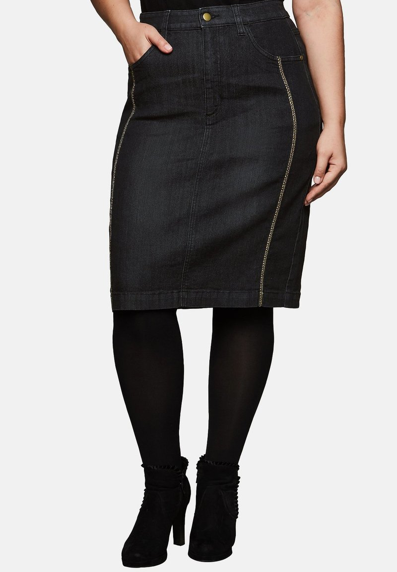 Sheego - Pencil skirt - black denim