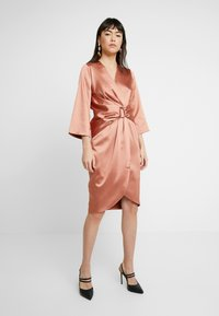 Closet - PLEATED WRAP DRESS - Day dress - rose gold - 0