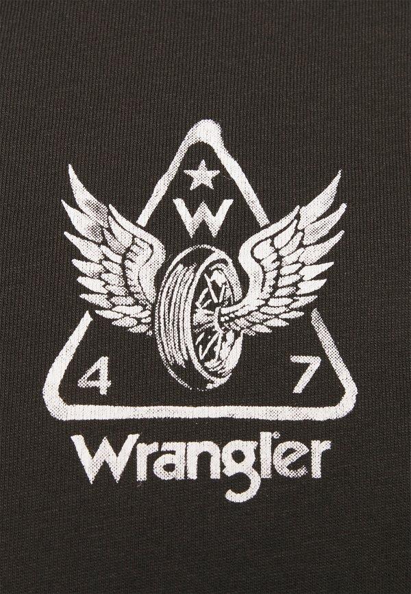 Wrangler BIKER TEE - T-shirt z nadrukiem - faded black/czarny Odzież Męska KHEL