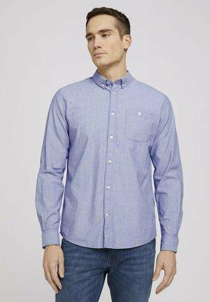 Shirt - navy white dobby structure