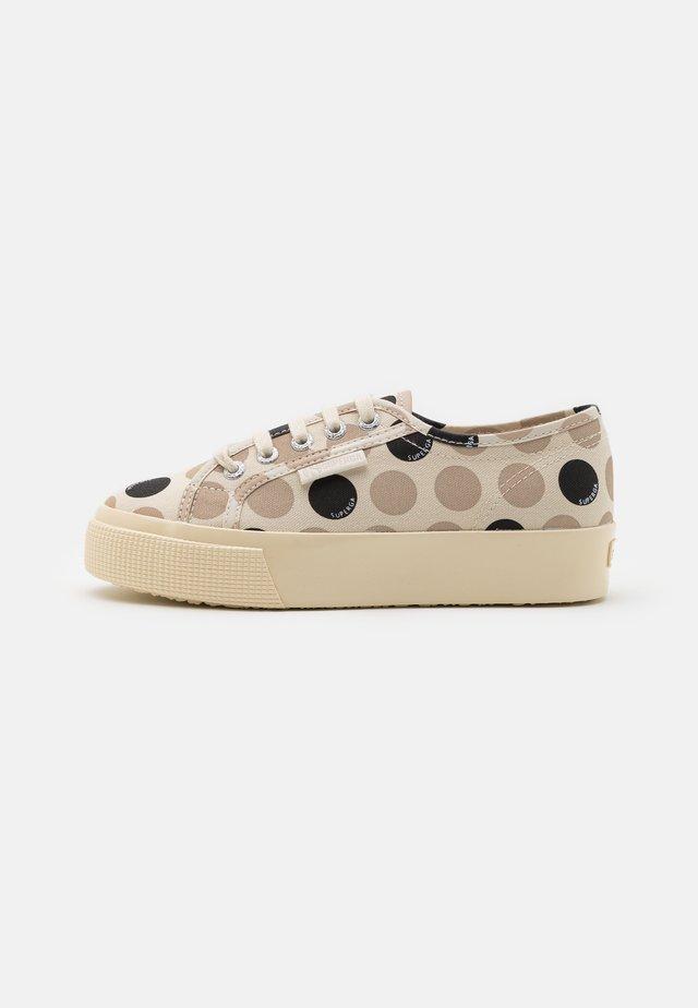 2730 - Sneakers laag - beige/ sand/black