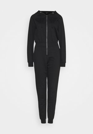 HOODED LOOP BACK - Jumpsuit - black