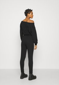 Even&Odd - Sweat off shoulder lounge jumpsuit - Haalari - black - 2
