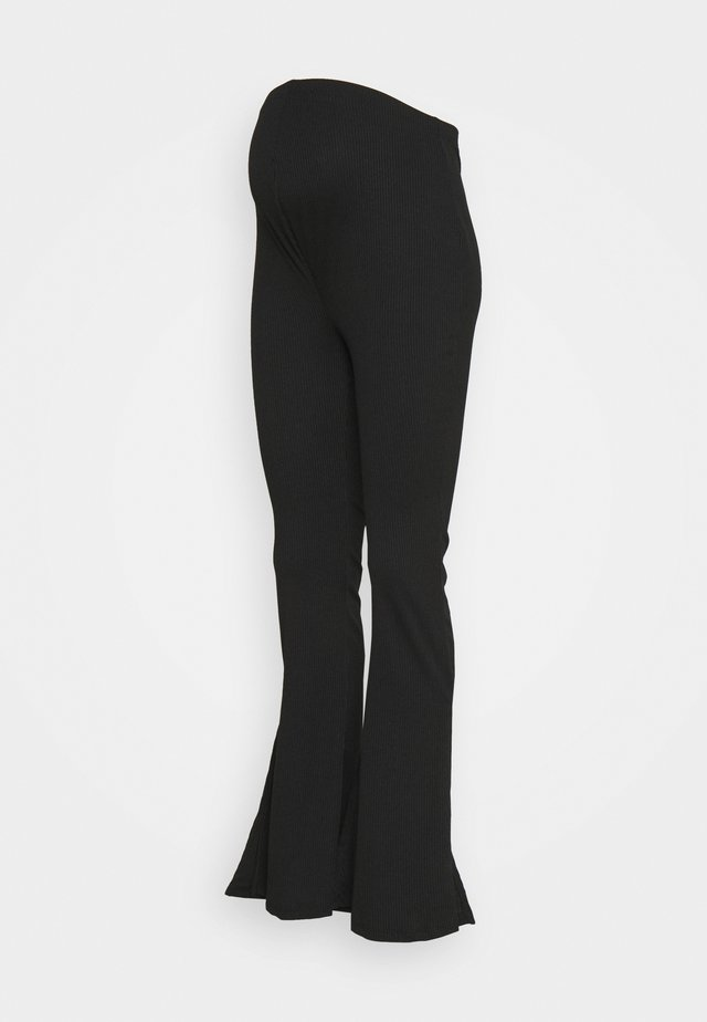 SPLIT SIDE FLARES - Leggings - Trousers - black