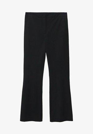 HIGH-WAIST COTTON - Pantalones - black