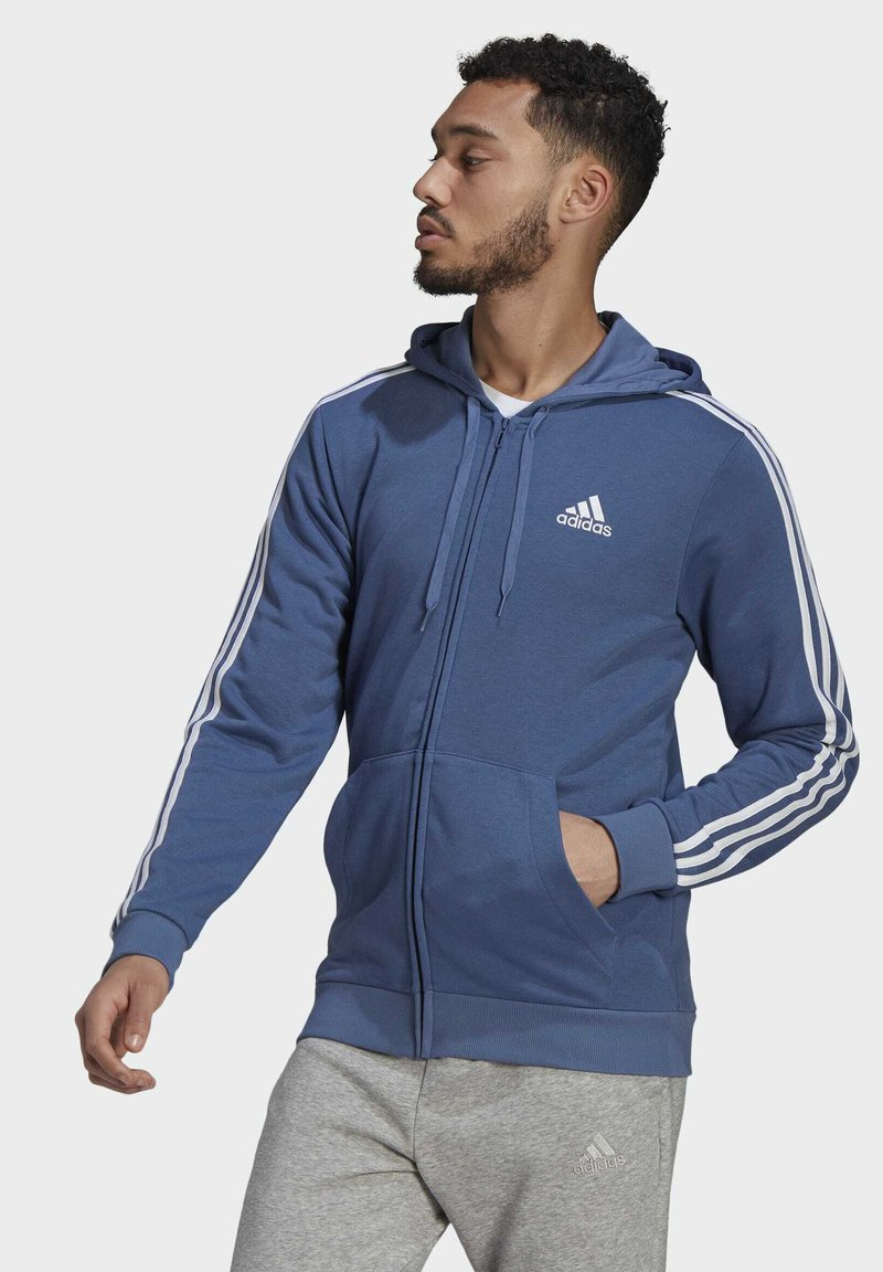 adidas Performance - M 3S FT FZ HD - Tröja med dragkedja - blue