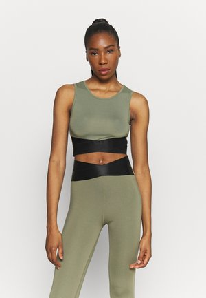 TWIST CROP - Top - olive