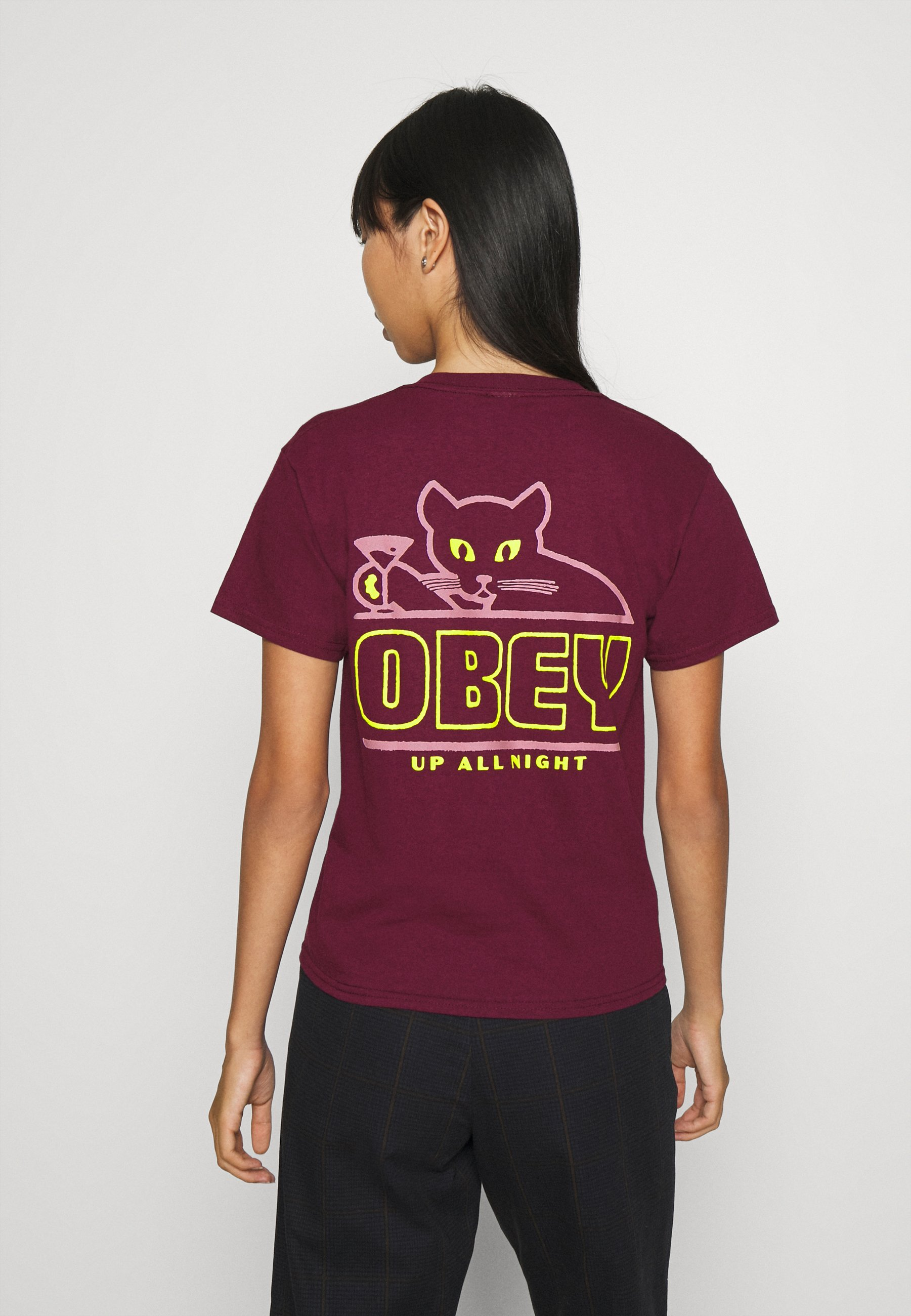 Obey Clothing Up All Night - T-shirts Med Print Maroon/vinrød