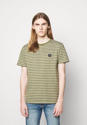 SAILOR STRIPE PATCH  - Print T-shirt - lichen green/off-white