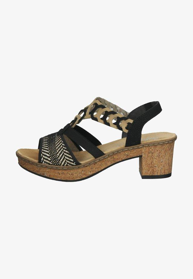 Sandalen met plateauzool - schwarz-natur/sand