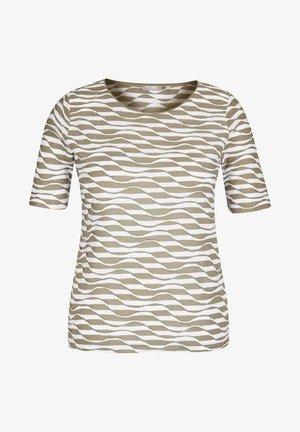 MIT RINGEL-MUSTER UND WELLENSTRUKTUR - Print T-shirt - oliv