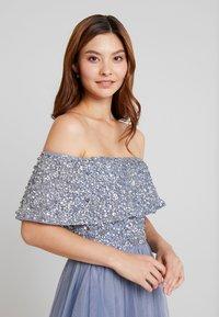 Maya Deluxe - OVERSIZED BARDOT HIGH LOW DRESS - Occasion wear - dusty blue - 4