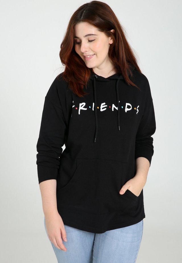 MIT AUFDRUCK  FRIENDS - Bluza z kapturem - black