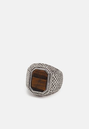 TIGERS EYE SIGNET - Pierścionek - silver-coloured