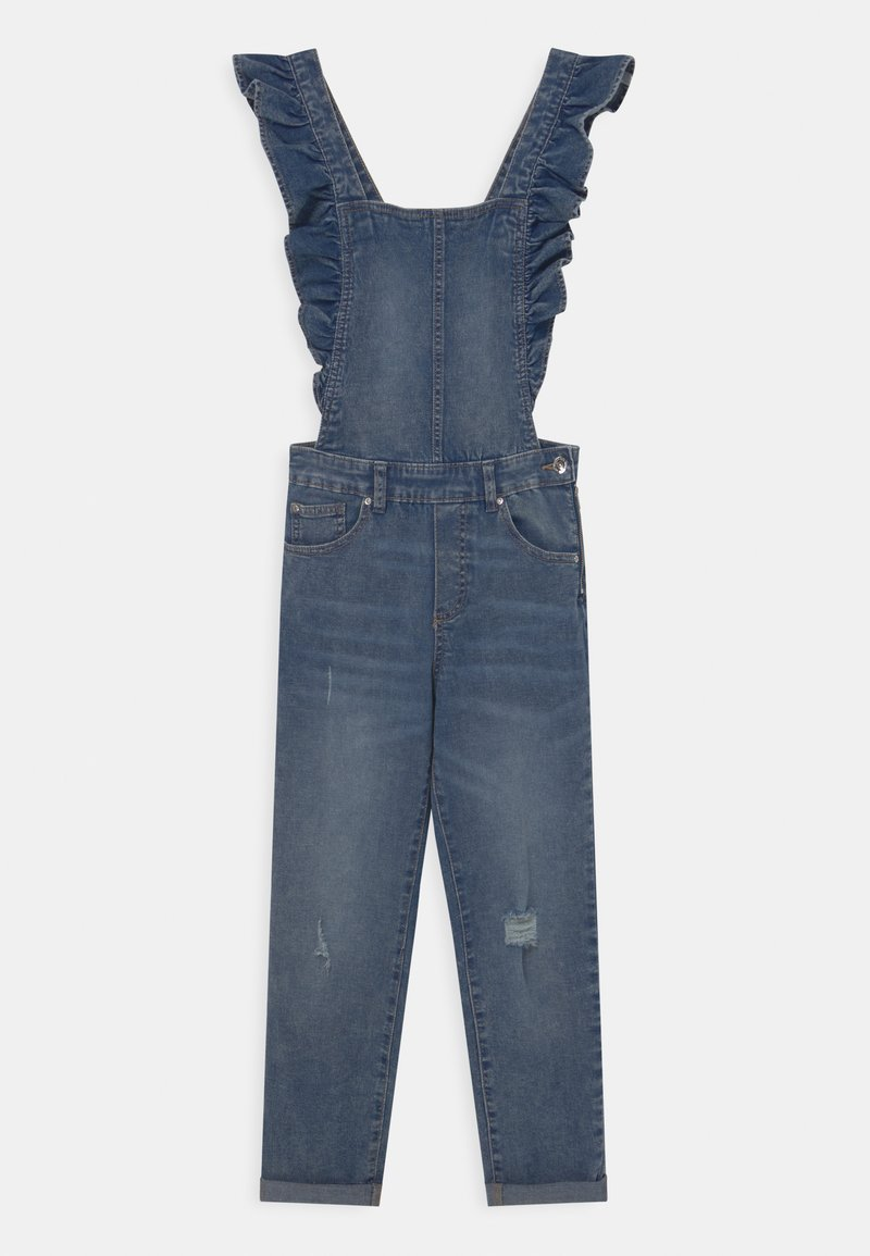 OVS - SALOPETTE WITH RUFFLES - Dungarees - blue