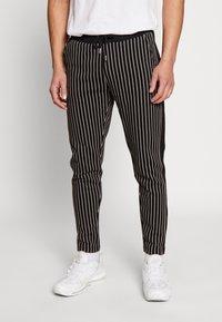 Burton Menswear London - PINSTRIPE - Tracksuit bottoms - black - 0