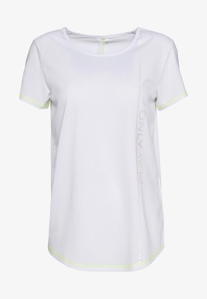 ONPALIX TRAINING TEE - T-shirt con stampa - white/safety yellow