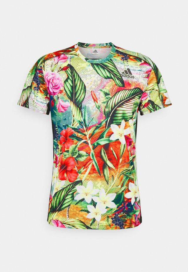 FLORAL TEE - T-shirt imprimé - hazy sky/scarlet