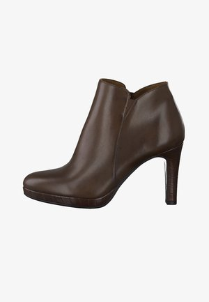 High heeled ankle boots - maroon/croco