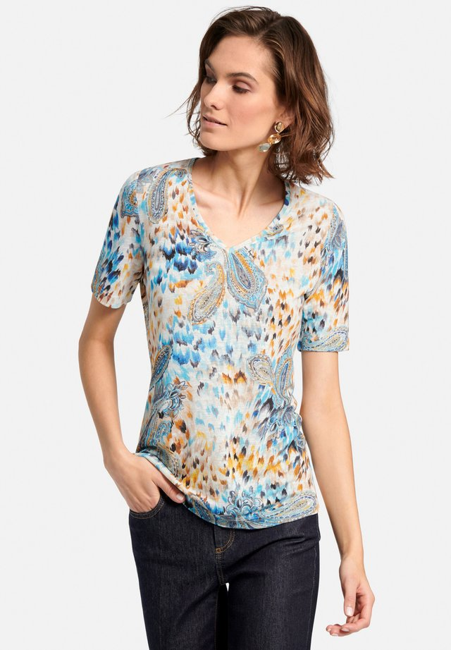 Print T-shirt - blau gelb multicolor