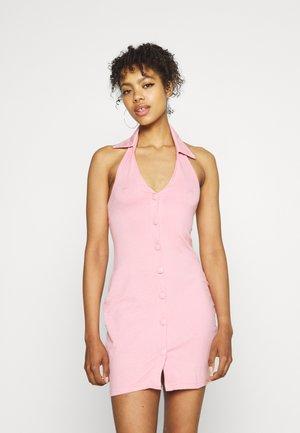 COLLARED BUTTON THRU MINI - Jerseyjurk - baby pink