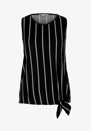 MIT KNOTENDETAIL - Top - black beige vertical stripe