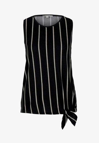MIT KNOTENDETAIL - Toppi - black beige vertical stripe