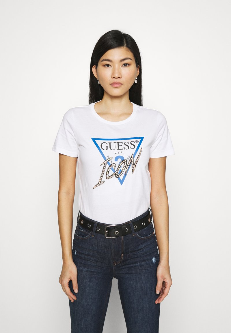 Guess - ICON TEE - Print T-shirt - true white