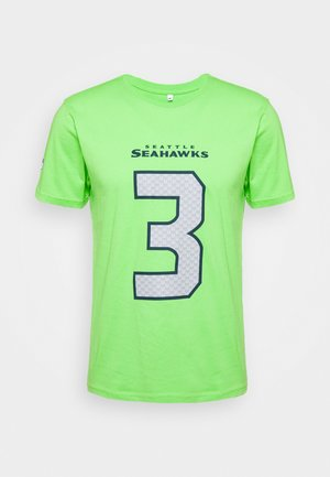 NFL RUSSELL WILSON SEATTLE SEAHAWKS ICONIC NAME & NUMBER GRAPHIC - Fanartikel - lime green