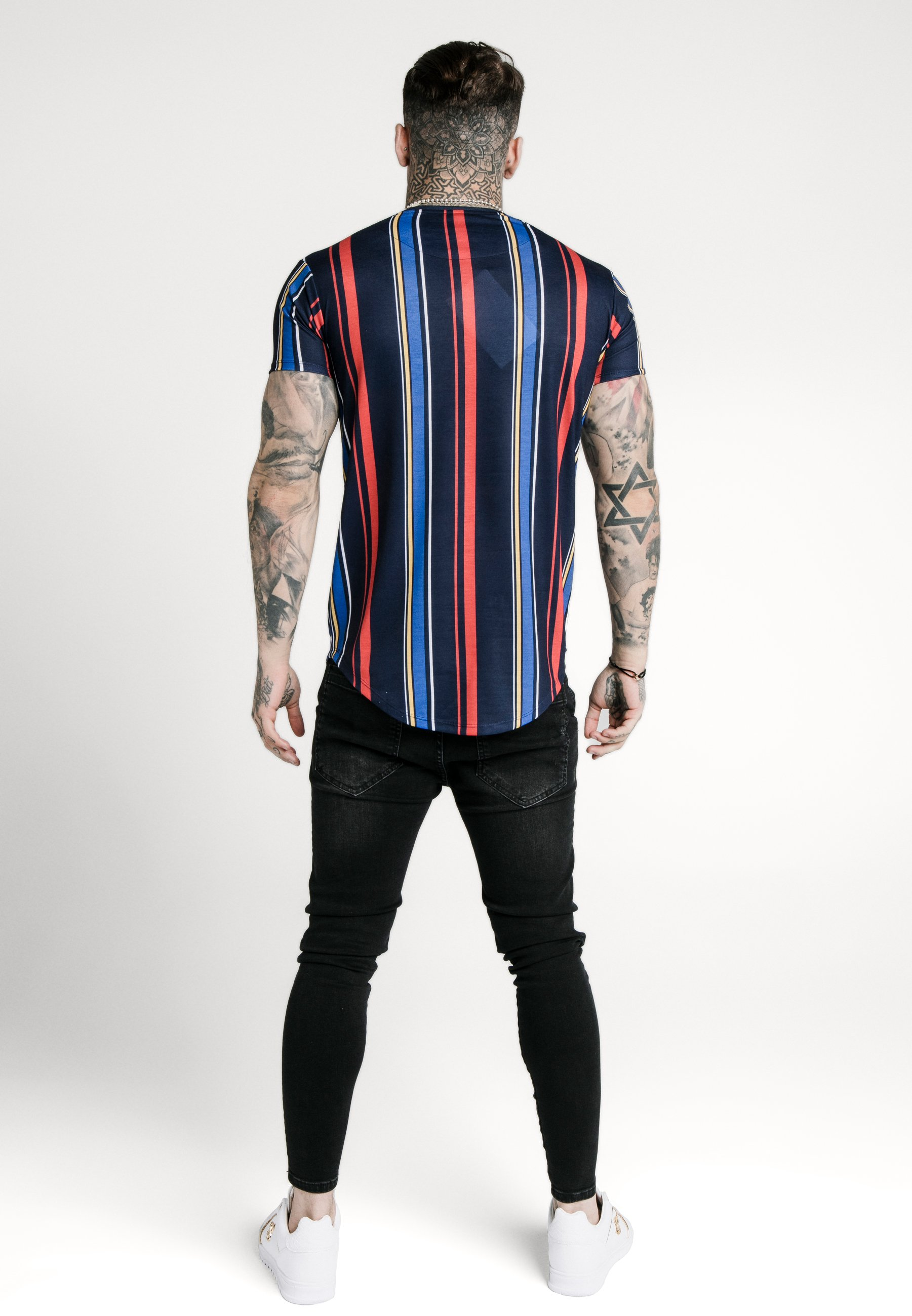 SIKSILK STRIPE TEE - Print T-shirt - navy/red/yellow eJs0A