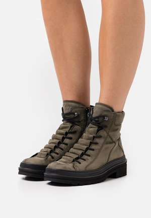 Lace-up ankle boots - oliv