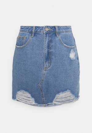 RIPPED MINI SKIRT - Jeansskjørt - light blue