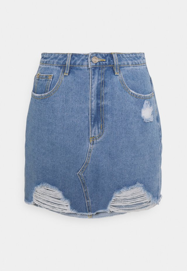 RIPPED MINI SKIRT - Denim skirt - light blue