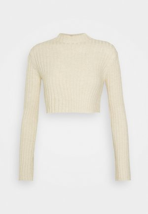 HIGH CROPPED RIB JUMPER - Jumper - beige