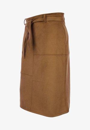VELOURSLOOK - Pencil skirt - zimt