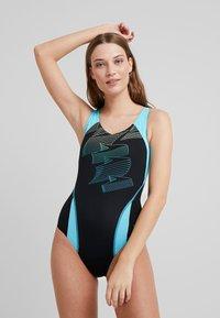 Speedo - BOOM - Swimsuit - black/aqua splash/bright zest - 0