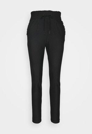 ONLPOPTRASH PINSTRIPE FRILL PANT - Trousers - black/white