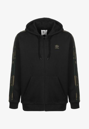 HOODED ZIPPER CAMO - Zip-up hoodie - black