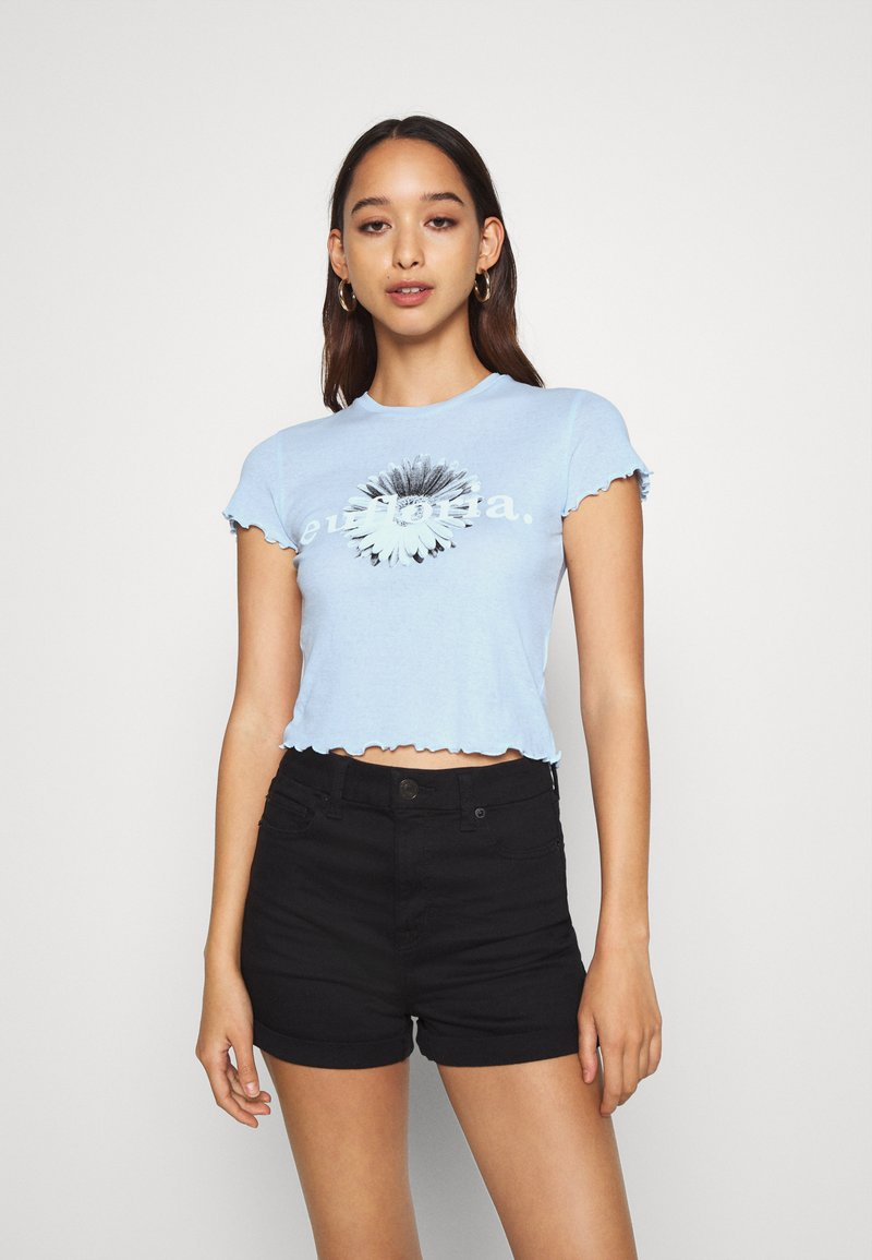 Weekday - SENA  - Print T-shirt - light blue