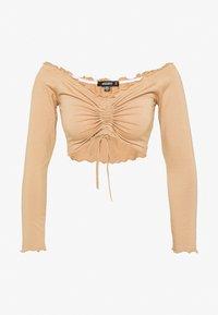 Missguided - BARDOT RUCHED LETTUCE HEM TOP 2 PACK - Long sleeved top - black/camel - 1