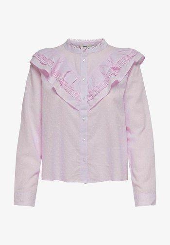 Button-down blouse - orchid bouquet