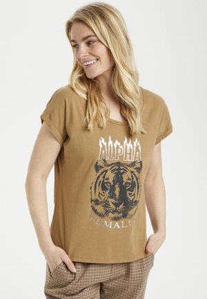 Print T-shirt - toasted coconut